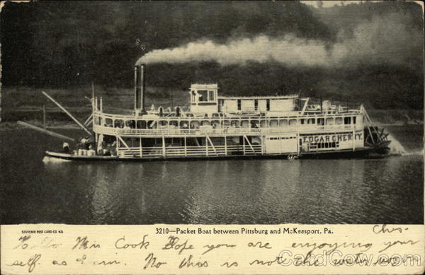 Packet Boat Between Pittsburg and McKeesport Pennsylvania