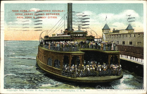 Crowded Double-Deck Ferry New York City William H. Rau