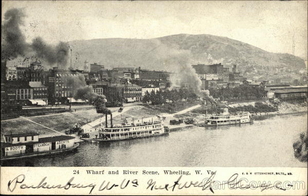 Wharf and River Scene Wheeling West Virginia