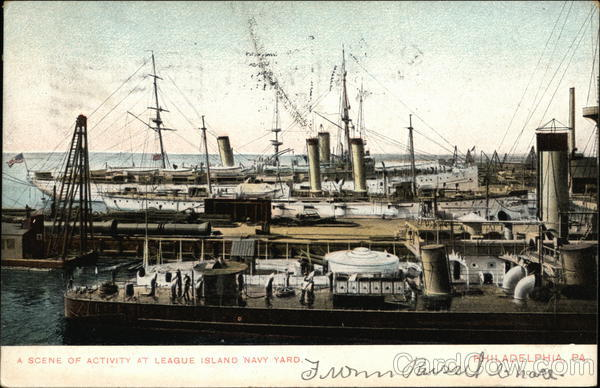 A Scene of Activity at League Island Navy Yard Philadelphia Pennsylvania