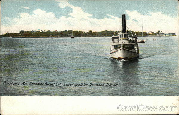 Steamer Forest City Leaving Little Diamond Island Maine