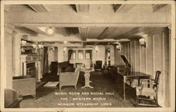 "Music Room and Social Hall, the ""Western World"", Munson Steamship Lines"
