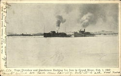 Tugs Dornbos and Gunderson Bucking Ice Jam in Grand River