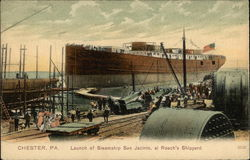 Launch of Steamship San Jacinto at Roach's Shipyard