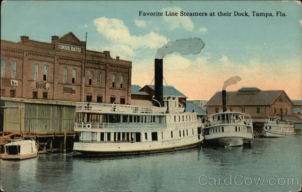 Favorite Line Steamers at their Dock Tampa Florida