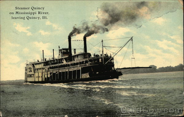 Steamer Quincy on Mississippi River Illinois