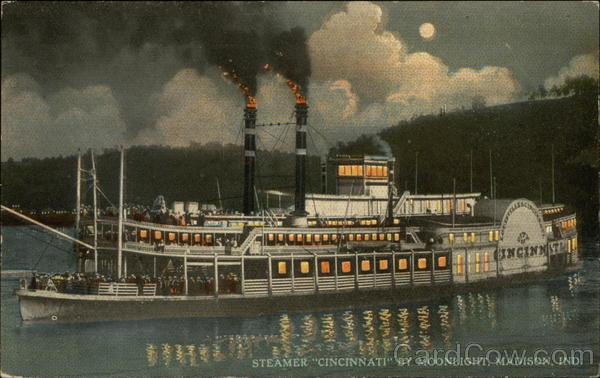 Steamer Cincinnati by Moonlight Madison Indiana
