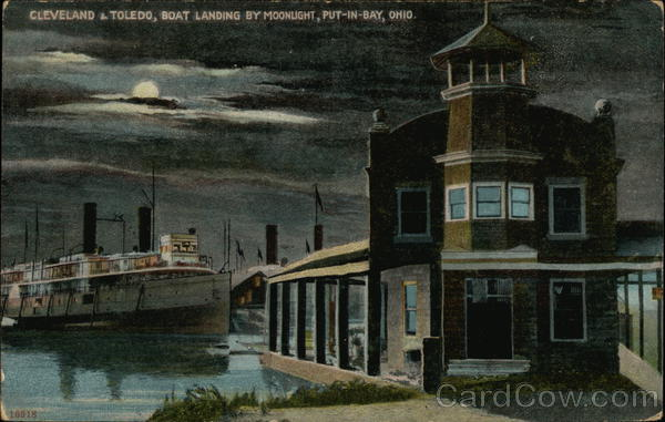 Cleveland & Toledo, Boat Landing by Moonlight Put-In-Bay Ohio