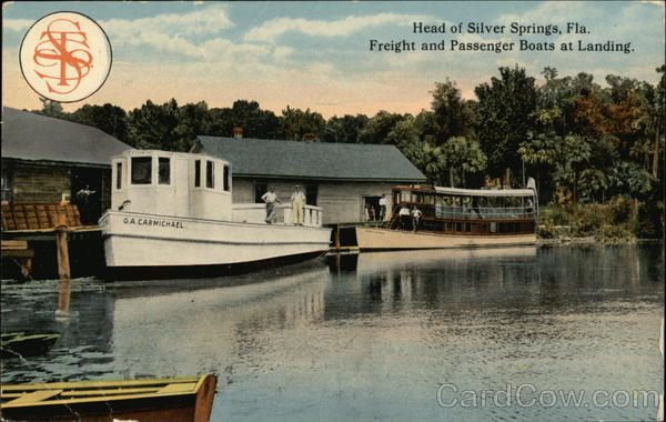 Freight and Passenger Boats at Landing Silver Springs Florida