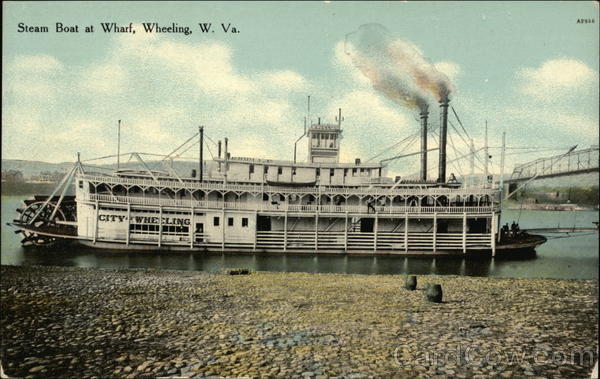 Steam Boat at Wharf Wheeling West Virginia