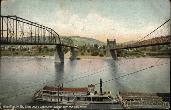 Street and Suspension Bridge over the Ohio River Wheeling West Virginia