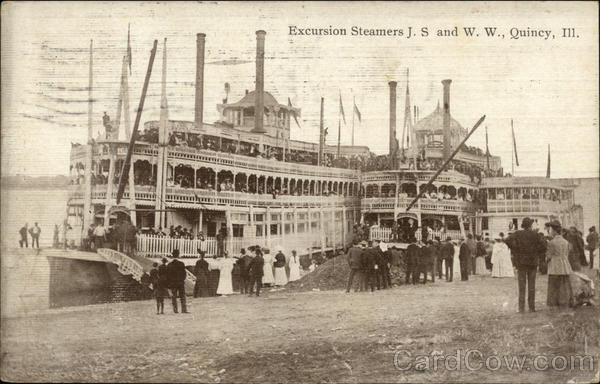 Excursion Steamers JS and WW Quincy Illinois