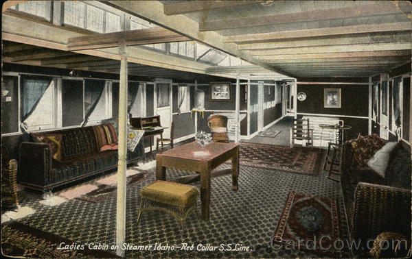 Ladies' Cabin on Steamer Idaho, Red Collar SS Line