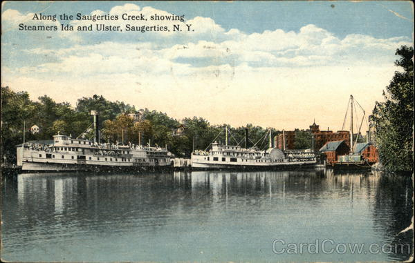 Along the Saugerties Creek, showing Steamers Ida and Ulster New York