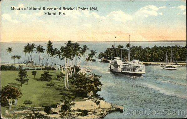 Mouth of Miami River and Brickell Point 1896 Florida
