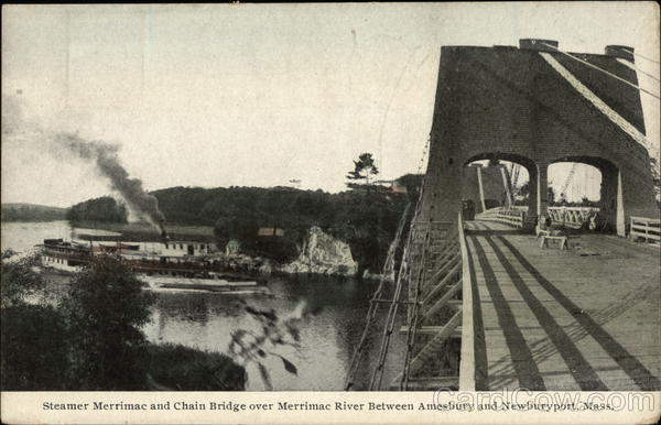 Steamer Merrimac and Chain Bridge Over Merrimac River Massachusetts