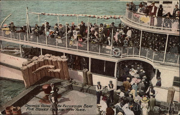Cetus Crowds Going On Excursion Boat for Coney Island New York