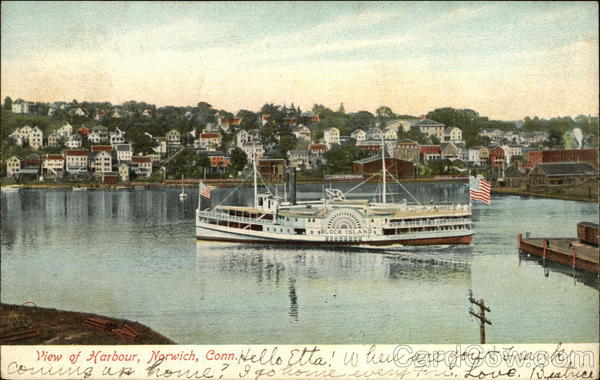 View of Harbour with Block Island Steamer Norwich Connecticut