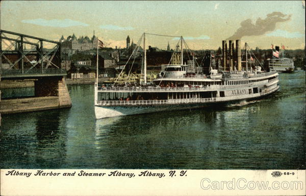 Albany Harbor and Steamer Albany New York