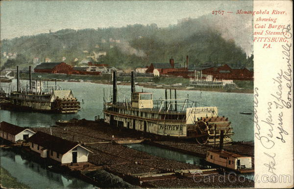 Monongahela River Showing Coal Barges and Steamers Pittsburgh Pennsylvania