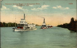 Steamers Towing Barges on Sacramento River
