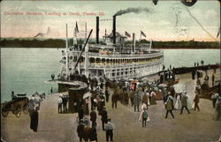 Excursion Steamer, Landing at Dock