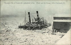Steamer City of Louisville Embedded in Ice