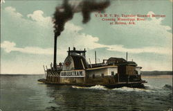 Y&MV Ry. Transfer Steamer Bertram Crossing Mississippi River