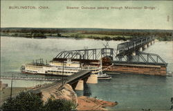 Steamer Dubuque passing through Mississippi Bridge