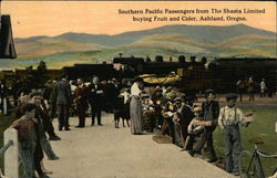 Southern Pacific Passengers from the Shasta Limited buying Fruit and Cider