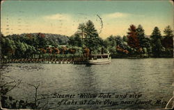 "Steamer ""Willow Dale"" and view of Lake at Lake View"