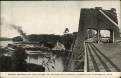 Steamer Merrimac and Chain Bridge Over Merrimac River