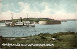 Boston Boat Passing Fort Popham