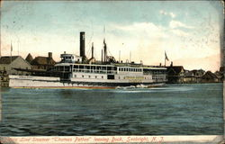 "Steamer ""Thomas Patten"" leaving Dock Postcard"