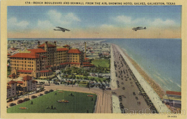 Beach Boulevard And Seawall From The Air Galveston Texas
