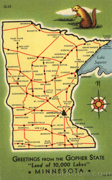 Greetings From The Gopher State Minnesota Maps