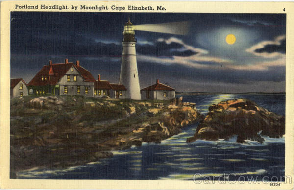 Portland Headlight By Moonlight Cape Elizabeth Maine