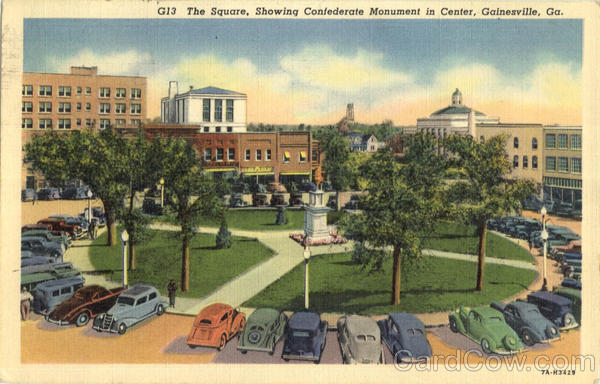 The Square Showing Confederate Monument In Center Gainesville Georgia