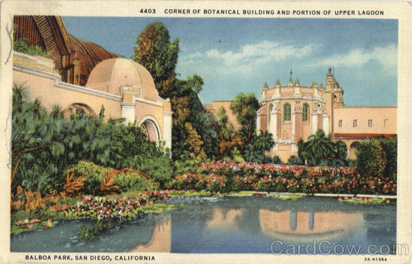 Corner Of Botanical Building And Portion Of Upper Lagoon, Balboa Park San Diego California