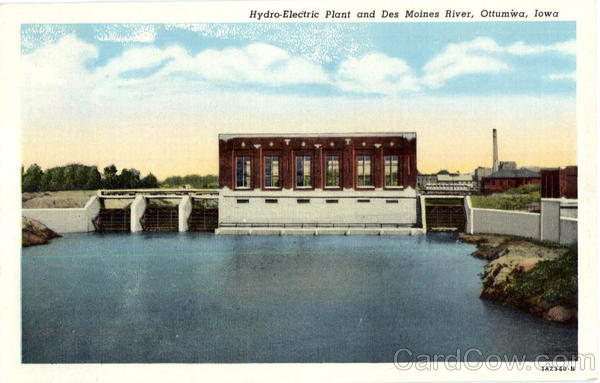 Hydro Electric Plant And Des Moines River Ottumwa Iowa