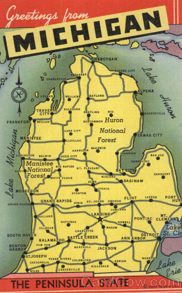 Greetings From Michigan Maps