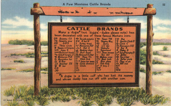 A Few Montana Cattle Brands Scenic Cowboy Western
