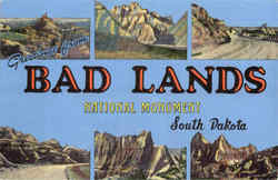 Greetings From Bad Lands National Monument Postcard