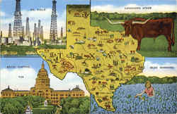 Texas Map Multiview Postcard
