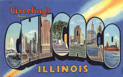 Greetings From Chicago Postcard