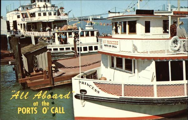 All Aboard at the Ports O'Call - SS Princess which encircles the Harbor San Pedro California