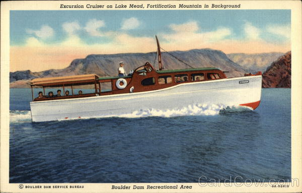 Excursion Cruiser on Lake Mead, Fortification Mountain in Background Boulder City Nevada