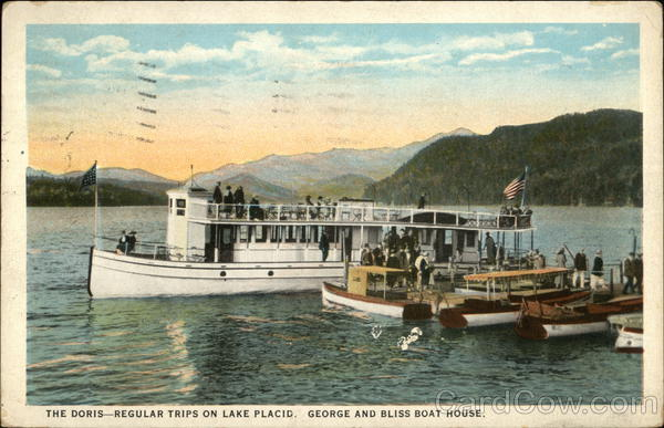 The Doris - Regular Trips on Lake Placid. George and Bliss Boat House. New York