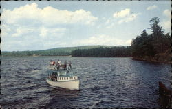 "The Mail Boat ""Jerrico"" plying the waters of Long Lake Postcard"