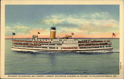 Steamer Tolchester, Baltimore's Largest Excursion Steamer Postcard